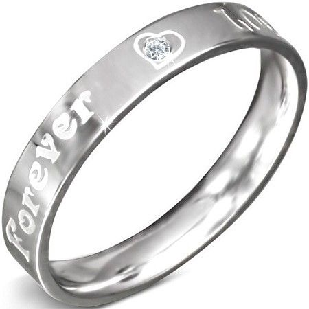 Vrouwen ring staal Forever love  - Maat 16