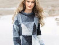 Коричневый свитер с рельефным узором - схема вязания спицами. Вяжем Свитеры на Verena.ru