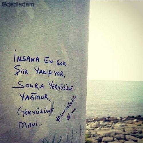 İnsana en çok şiir yakışıyor, sonra yeryüzüne yağmur, gökyüzüne mavi.