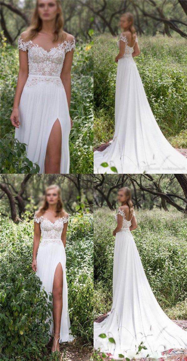 Custom New Arrival Wedding Dresses, Bridal Dresses, Lace Off Shoulder Slit Wedding Dress, PD0430