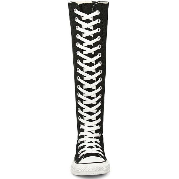 Converse XX-Hi Chuck Taylor Boots ($70) ❤ liked on Polyvore featuring shoes, boots, knee-high boots, back zipper boots, zipper boots, knee boots, converse high tops and canvas high tops