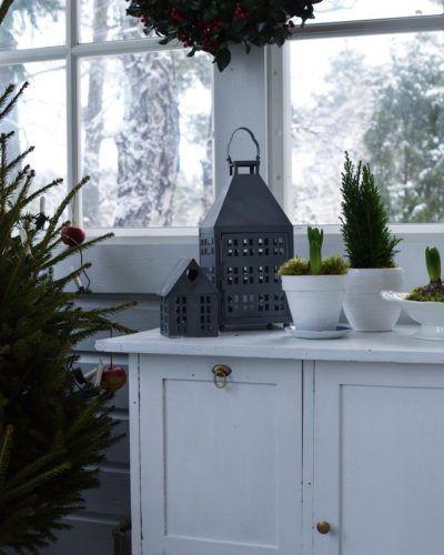 Kukat ja havut lasikuistilla luovat kivaa tunnelmaa talvipäiviin