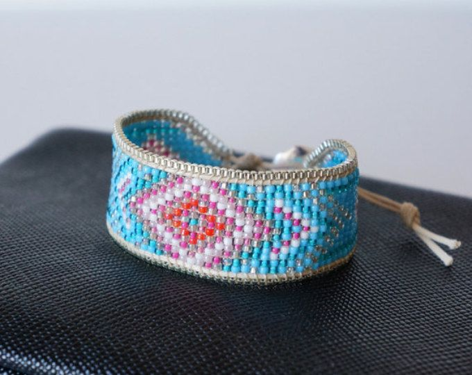 Featured listing image: Boho Bracelet Cuff blue & pink with seed bead, gold Chain