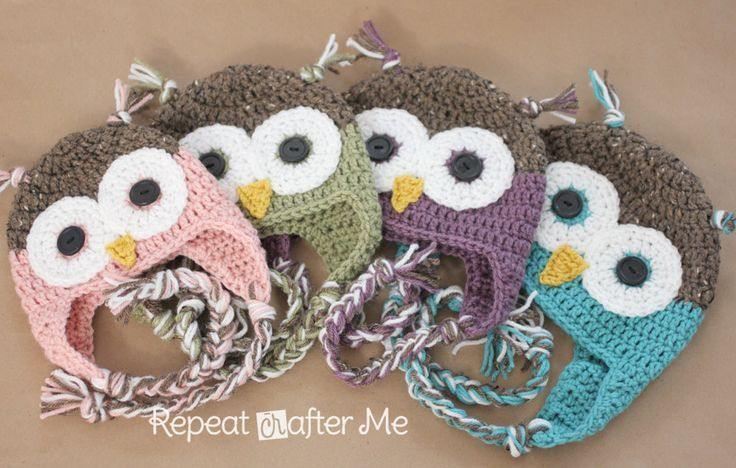 Repeat Crafter Me: Crochet Owl Hat Pattern in Newborn-Adult Sizes.