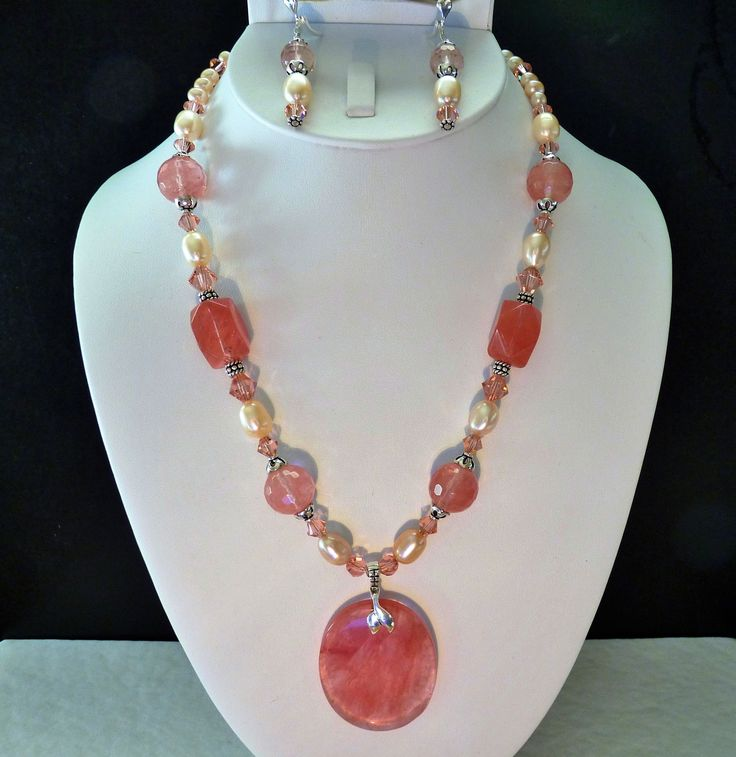 Cherry Quartz Pendant and Beads with Pearls and Swarovski Crystals Sterling Necklace and Earring Set