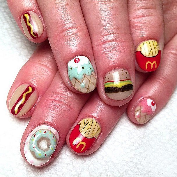 Fast Food Nation // Doughnut Nail Art Ideas