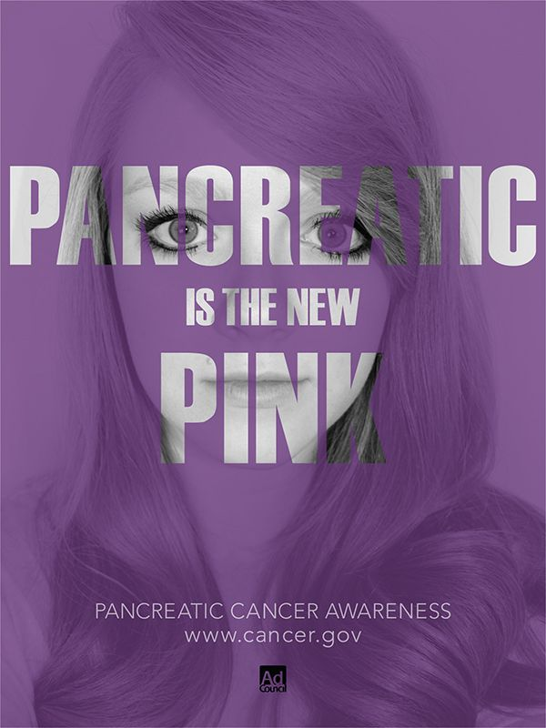 This PSA is very reminiscent of a beauty/cosmetics ad. One could easily skim over this and believe that is all it is, but when you read the text, the message becomes clear and creates the overall message that Pancreatic cancer can effect anybody.