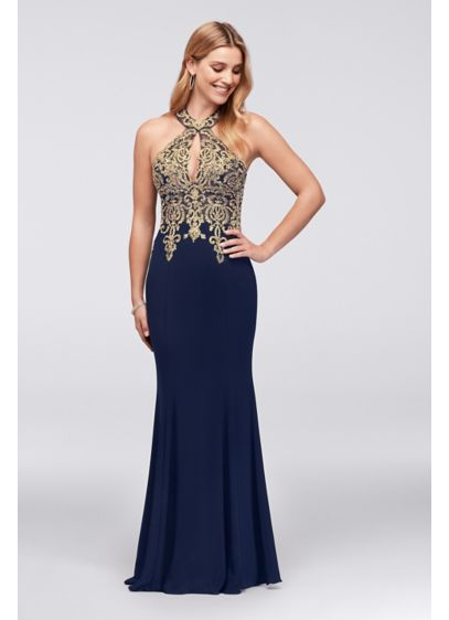 01a32d74 Metallic Lace and Jersey Round Neck Halter Gown Style XS9331, Navy ...