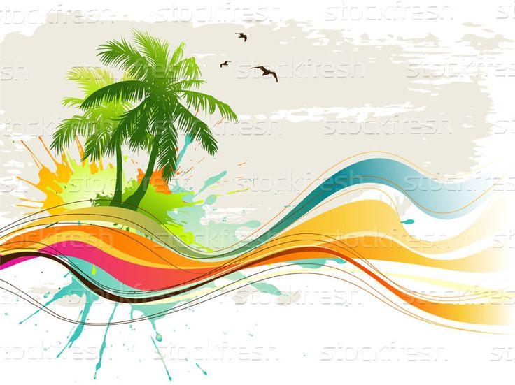 Sommer · hintergrund · tropischen · baum · landschaft · palmen - vektor-grafiken © Misha (#132695) | Stockfresh