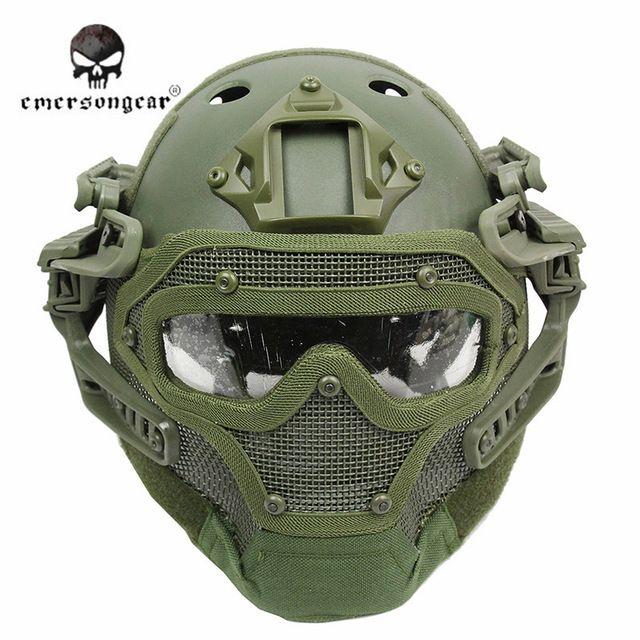 Emerson Sistema G4 Conjunto PJ Tactical Airsoft Paintball Mascarilla Casco Militar Casco con Total Protección De Vidrio Equipos