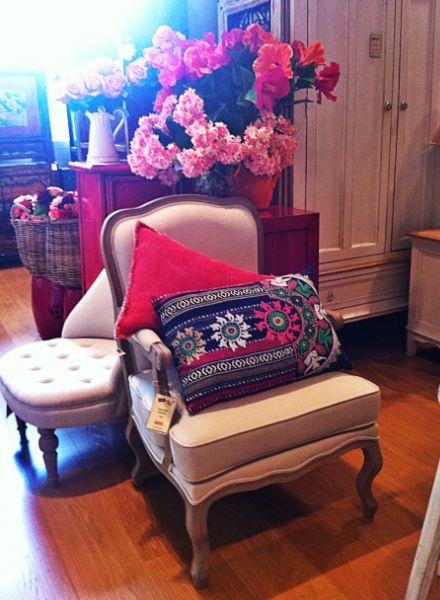 Louis armchair and pretty cushions
