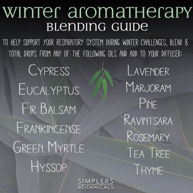 Winter Aromatherapy Blending Guide   To help support your respiratory system during winter challenges, Blend 8 total drops from any of the following oils and add to your diffuser:  Cypress Eucalyptus Fir Balsam Frankincense Green Myrtle Hyssop Lavender Marjoram Pine Ravintsara Rosemary Tea Tree Thyme