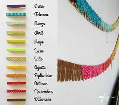 colores para la cadena anual montessori