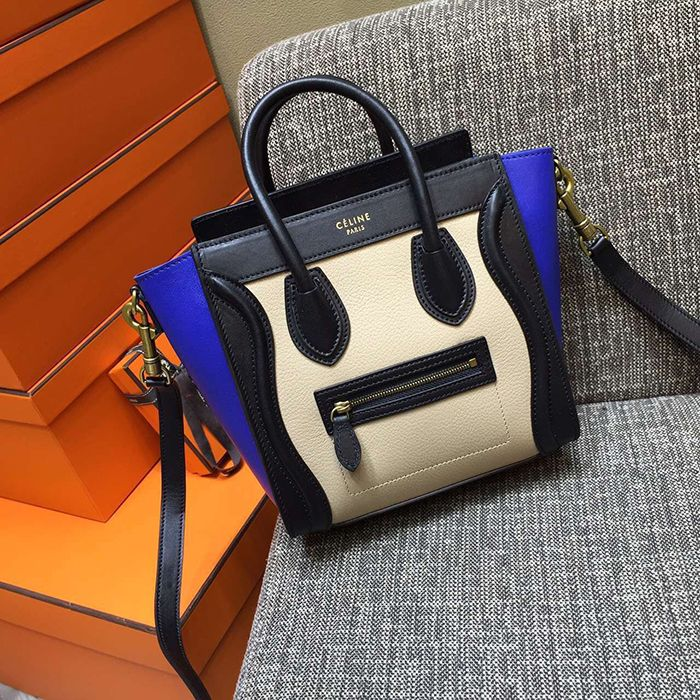 Celine white Tricolor nano bag in White/Blue/Black