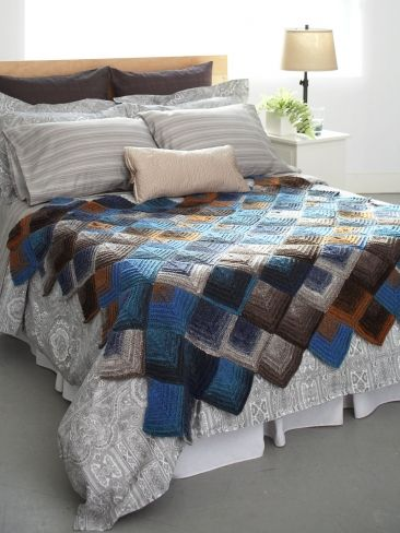 Mitered Motifs Blanket   Yarn   Free Knitting Patterns   Crochet Patterns   Yarnspirations Someday...