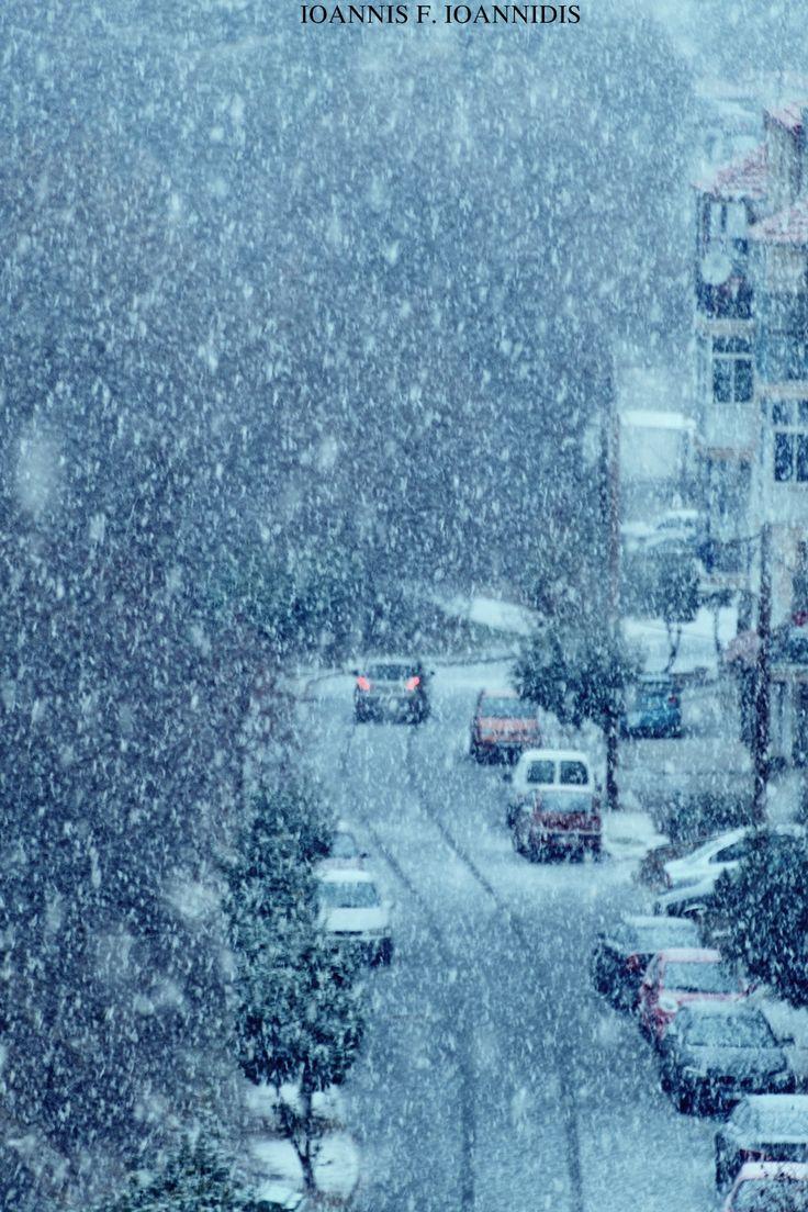 First snow in Kastoria, Greece