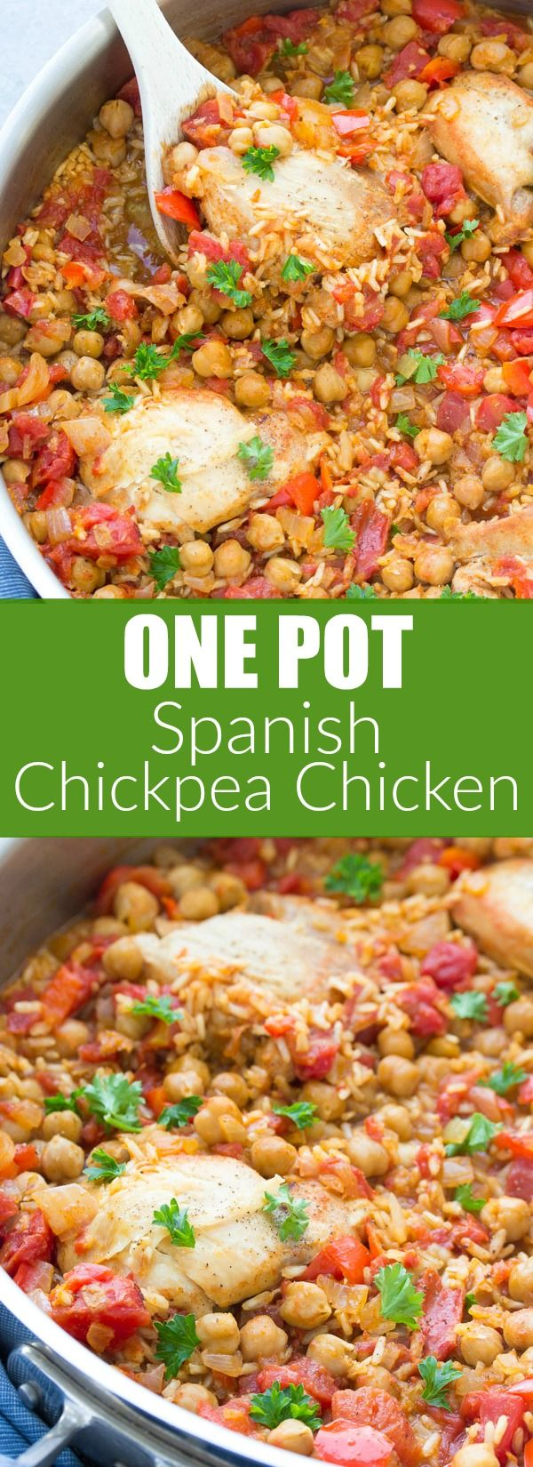 This One Pot Spanish Chickpea Chicken is an easy dinner recipe that the whole family will love! With brown rice, tomatoes, and vegetables, all cooked in one pan! #pulsepledge #sponsored | www.kristineskitchenblog.com