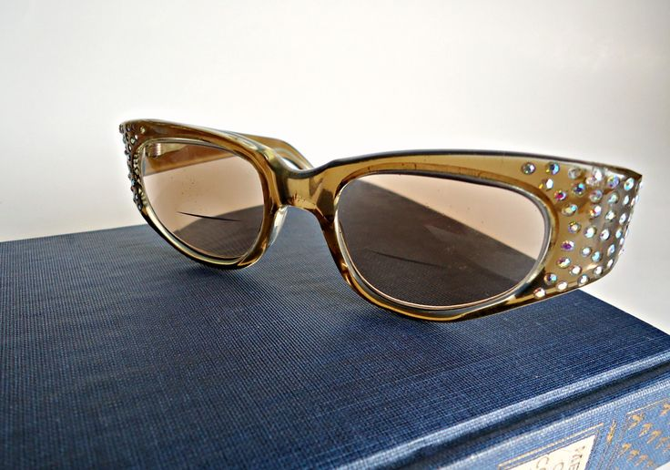 Vintage 1950's Rhinestone Eyeglasses Frames Cat Eye Lucite Frames Swank Frames France Steampunk by treasurecoveally on Etsy