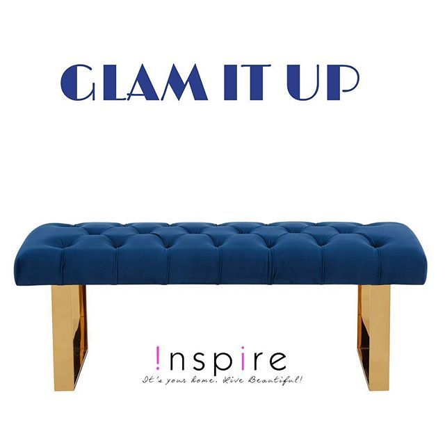 Add a touch of glam to your home with the Angelica double bench in gold and blue from !nspire...    http://worldwidehomefurnishingsinc.com/angelica-double-bench-in-blue.html