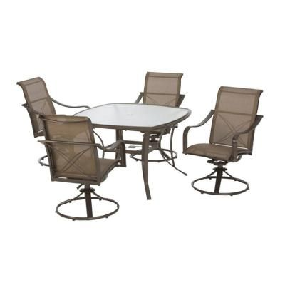 This Hampton Bay Grand Bank 5 Piece Outdoor Patio Dining Set Has A  Decorative X Back Detailing And Subtle Curves, The Grand Bank Collection Is  Sure To ...