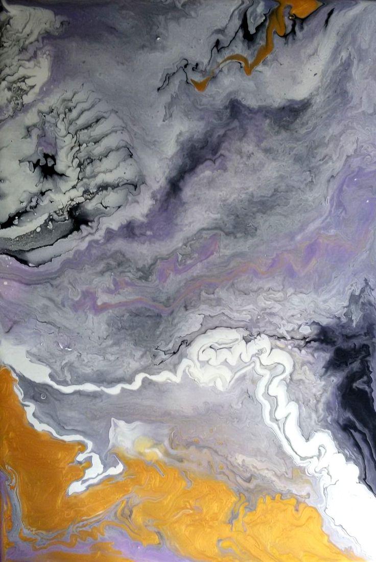 ''Purple Nebula'' acrylic pouring  painted by Vilma Goga - Acrylic and Liquitex