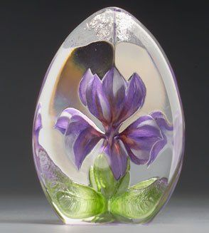 Mats Jonasson Purple Iris Etched Glass - MJ 33881