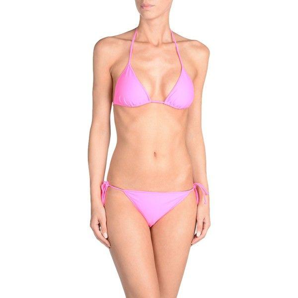 Versace Collection Bikini (€115) ❤ liked on Polyvore featuring swimwear, bikinis, fuchsia, neon swimwear, neon bikini, bikini swimwear, bikini swim wear and versace bikini