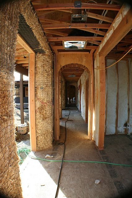 Straw Bale Home-bale interior by Straw Bale,