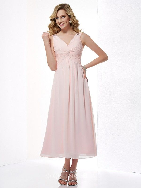 A-Line/Princess Sleeveless V-neck Beading Pleats Chiffon Tea-Length Dresses