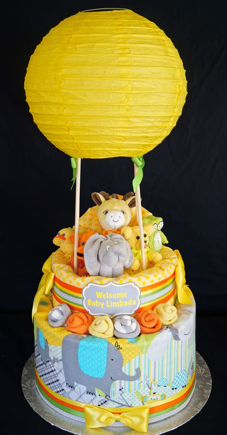 Hot Air Balloon Diaper Cake-Gender Neutral www.facebook.com/DiaperCakesbyDiana