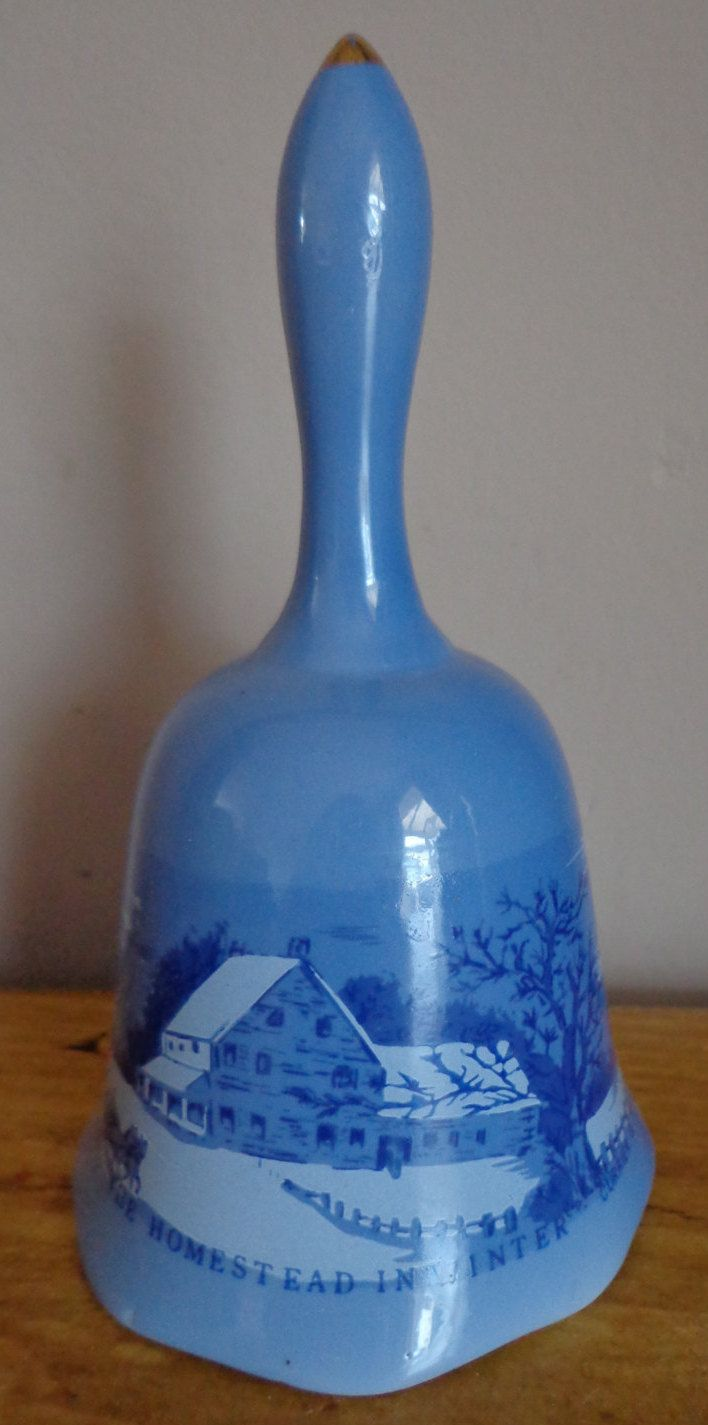 """Pretty Little Blue Bell With """"The Homestead In Winter"""" Scene By Currier And Ives, Pretty Little Christmas Bell - Currier And Ives Scene by OnyxCollectables on Etsy"""