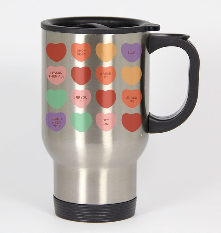 Mean Sweethearts I #79 - Funny 14Oz Silver Travel Mug Single Life Dating