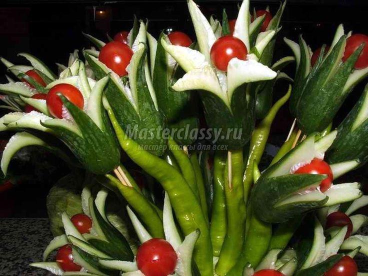 Поделки из овощей - «Букет из огурцов»
