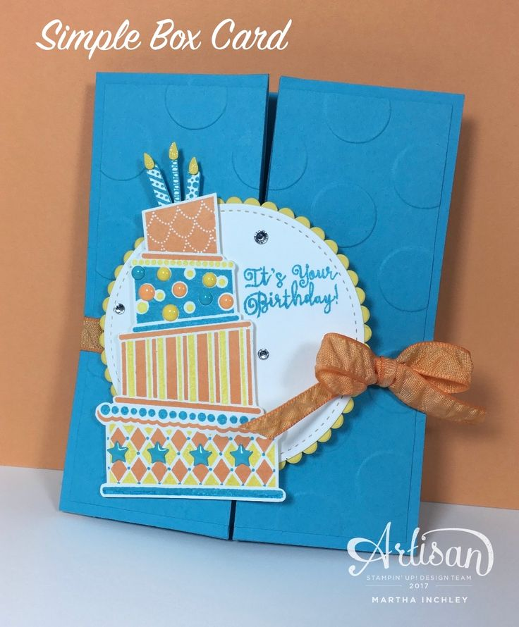 Fancy Folds Blog Hop: Simple Box Card  (using Peek a boo Peach,  Daffodil Delight and Tempting Turquoise)