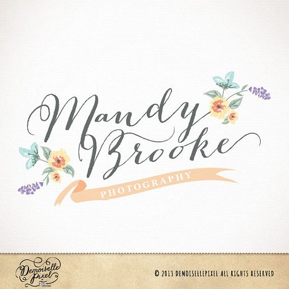 Logo design premade with hand drawn flowers and banner for photography, boutique