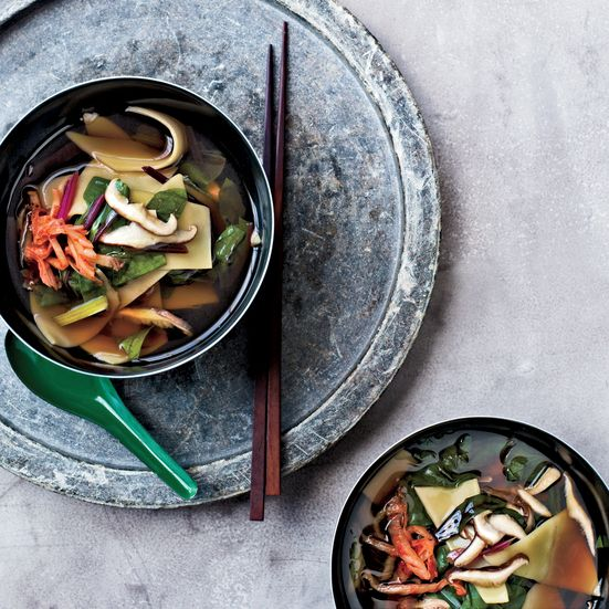 Shiitake-and-Swiss-Chard Soup with Hand-Cut Noodles  David Chang flavors this fabulous broth with dried shiitakes; fresh shiitakes intensify the flavor. The highlight: simple noodles thrown in at the end...