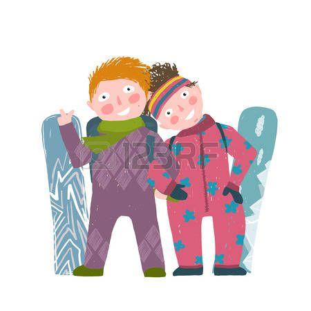 Лыжный спорт Детский девочка и мальчик в зимней одежде с сноуборду мультфильма. Счастливый спортивный дети пара сноуборде. Красочный ребенок рука тяге поверхностна чувствовать иллюстрации. Вектор мультфильм.