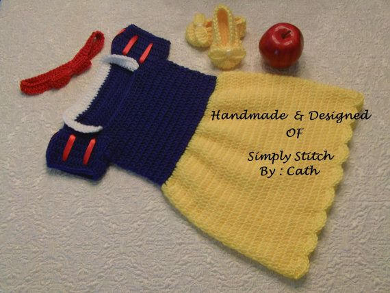 crochet Snow White (Inspired) Dress set - Baby Photo props costume set