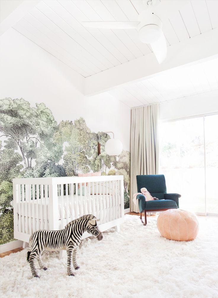 A shaggy rug makes a big impact in a baby's nursery