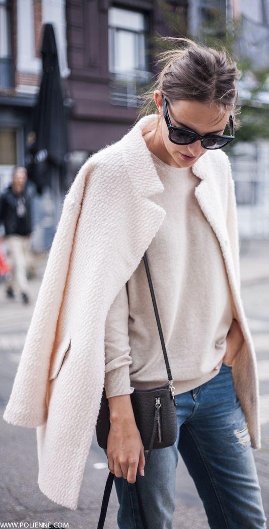 #fall #fashion / pink + pink + denim