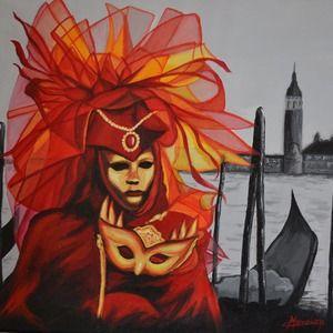 """Tableau acrylique carnaval de Venise """"Le masque aux voiles rouges"""", Peinture Opale Isis, sur Un Grand Marché"""