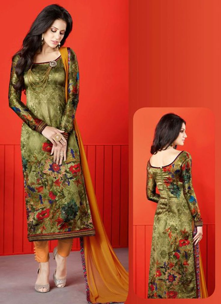 Buy Aesthetic Satin Digital Print Work Churidar Designer Suit