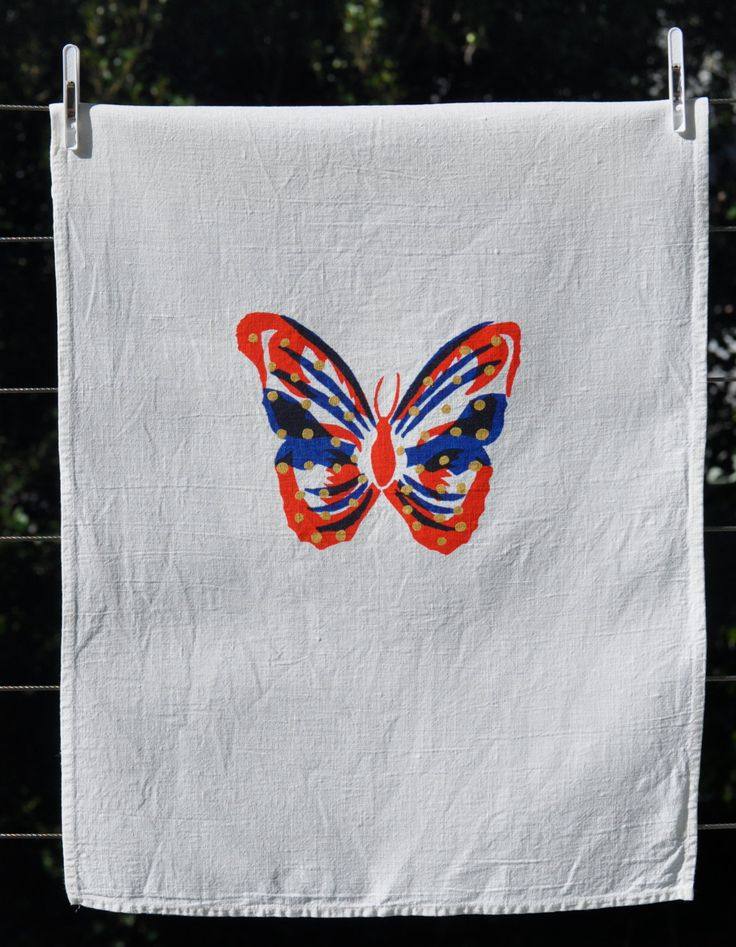 Butterfly+Tea+Towel+100+Linen+Screen+Print+by+SeeYouAtHome+on+Etsy,+$26.00