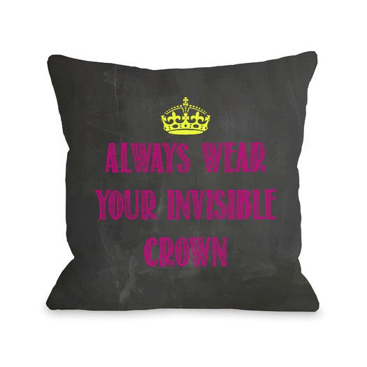 One Bella Casa Invisible Crown Chalkboard Throw Pillow | AllModern