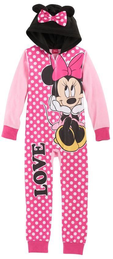 Disney Disney's Minnie Mouse Girls 4-8 3D Ears One-Piece Pajamas