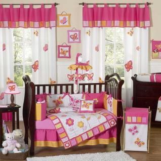 Butterfly Pink Orange 9 Piece Baby Crib Bedding Set By Sweet Jojo Designs Image