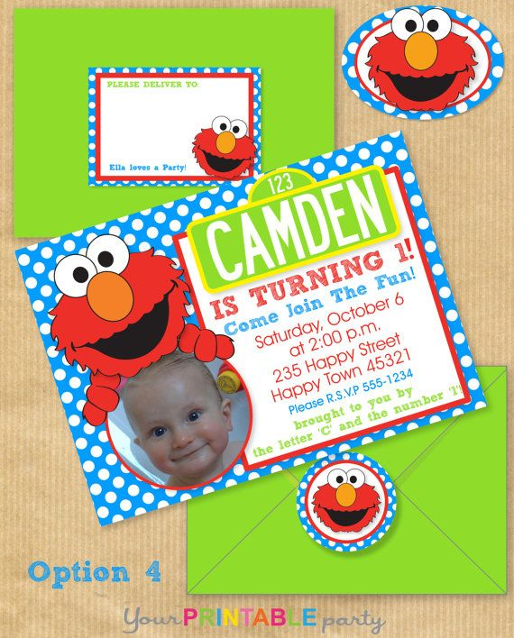 ELMO+Party+Invitation+5x7+with+Address+by+YourPrintableParty,+$14.00