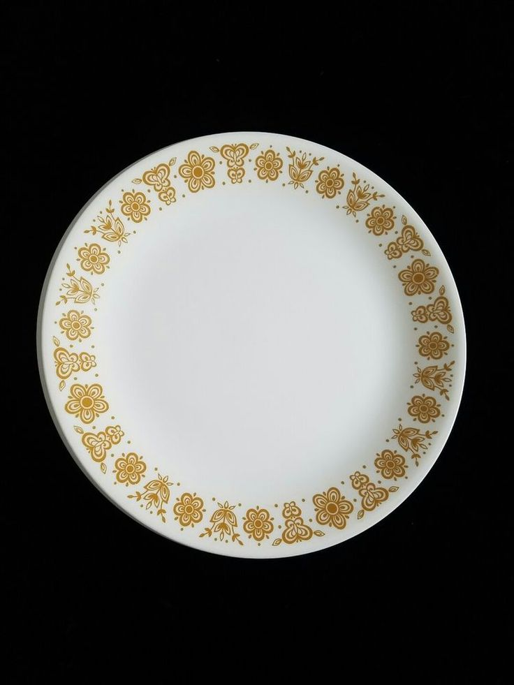 """Set of 2 Vintage Butterfly Gold Corelle 10"""" Dinner Plates 1970s Made in USA  