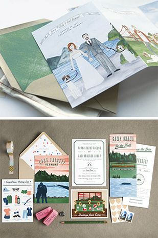 Swiss Cottage Designs Illustrated Wedding Stationery | www.onefabday.com