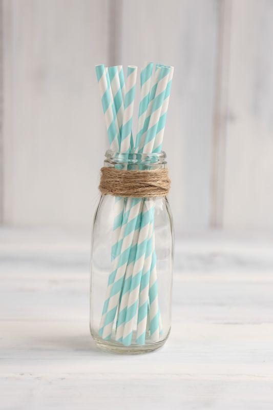 Duck Egg Blue Stripe Paper Straws - Sweet Tea Party Supplies